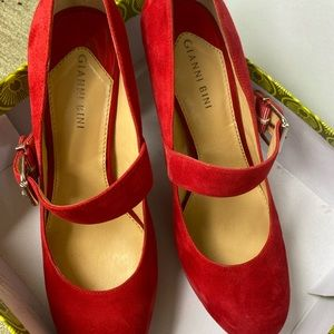 Gianni Bini Red Suede Mary Jane Pumps